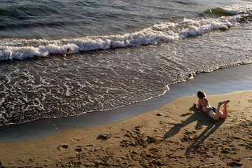girl lying at beach