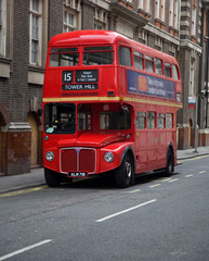 Spoed Foto op Canvas Londen rode bus london double decker bus