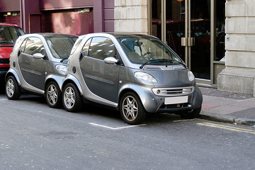 micro cars share space