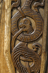 wood carved dragon.