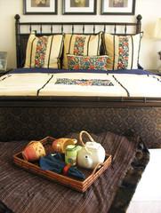 bedroom (focus on food tray)