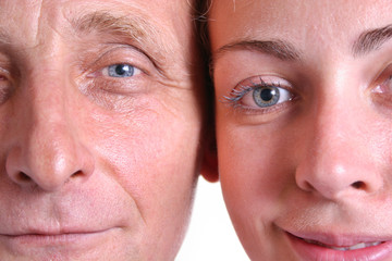young woman and her grandfather closeup