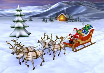 Foto op Plexiglas Art Studio santa claus in the mountains delivering presents