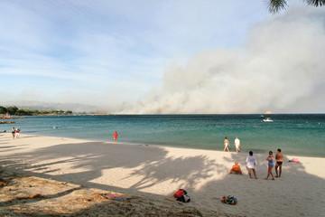 plage en feu