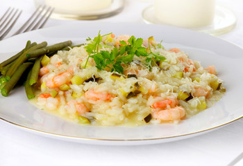 prawn risotto, front view