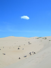 lonely cloud over sand dunes