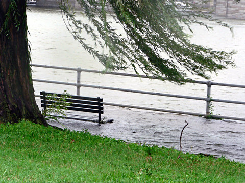 stormy weather - submerged park bench 2