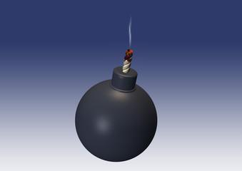 extinct bomb with smoken match