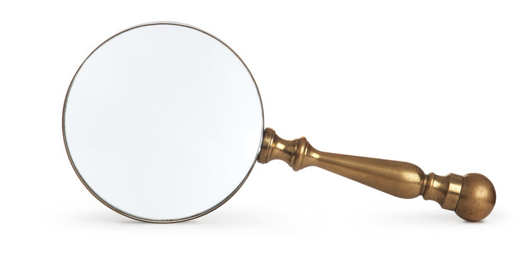 antique magnifying glass on white background