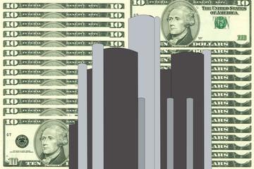 renaissance center detroit against ten dollar bill