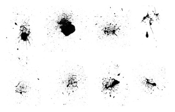 ink splats eight brushes set (with paths)