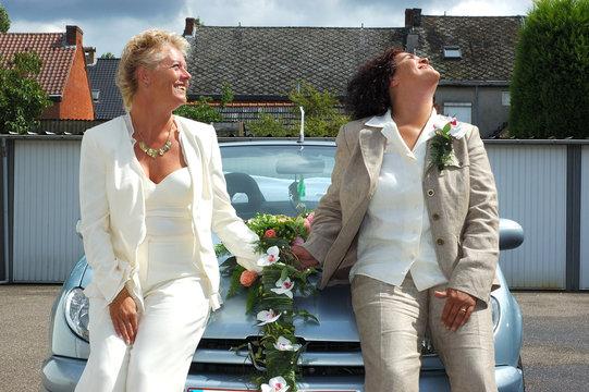 newly wed lesbian couple.