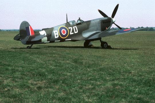 spitfire parked on grass