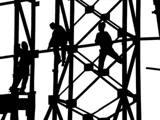 construction site, silhouettes