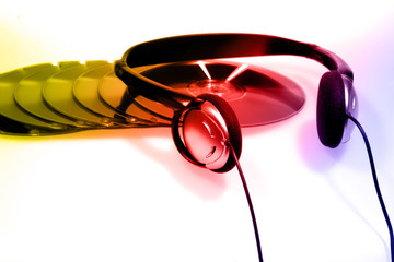 listening to music concept with gradient