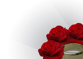 ring aus gold und rote rosen