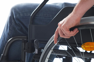 sitting on a wheelchair
