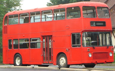 Fotobehang Londen rode bus red double decker bus