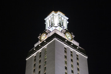 university of texas clock tower at night