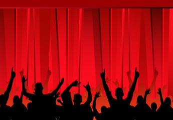 audience &  red curtains