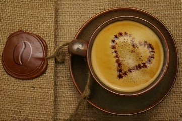 coffee with chocolate heart