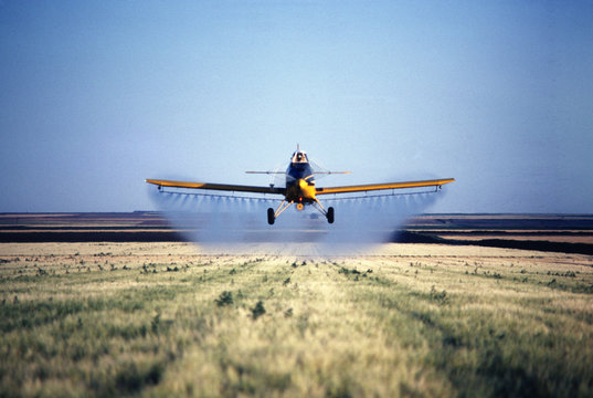 spray plane spraying barley field in colorado