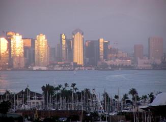 san diego skyline from yacht club