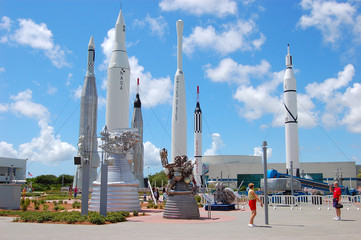 Fotorolgordijn Nasa rockets at the kennedy space center