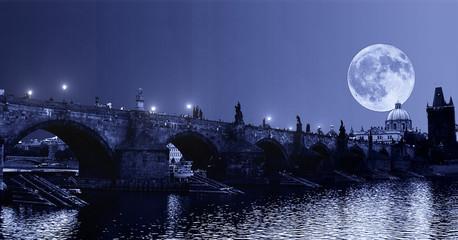 Poster Prague huge moon over charle's bridge in prague