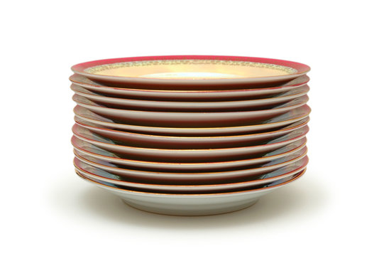 stacked plates isolated on white