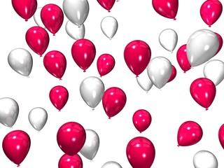 weiß/ rot ballons