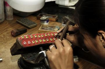thailand, chiang mai: jewel maker
