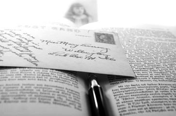 vintage postcard and book