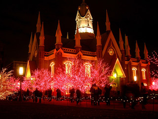 church christmas lights night