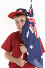 true blue - patriotic boy holding australian flag