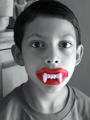 boy with wax teeth