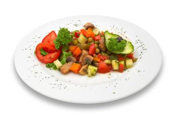 mixed vegetable/mushroom salad. isolated.