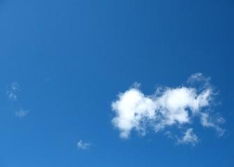 single small cloud in blue sky