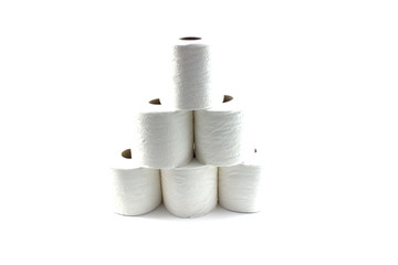 isolated toilet papers forming a pyramid
