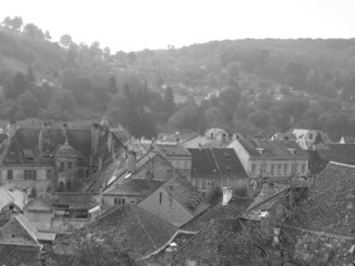 black and white view of a medieval town