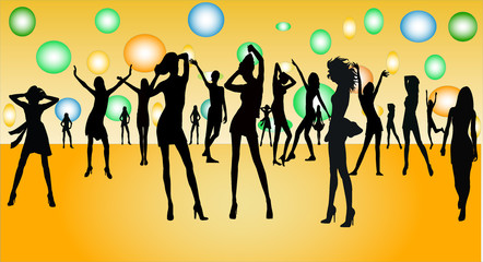 dancing girls - silhuette illustration