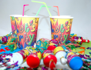 party cups and streamers