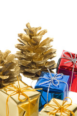 pine cones and gifts