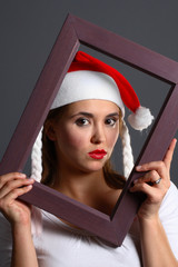 santa girl within a frame