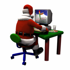 santa working on a computer