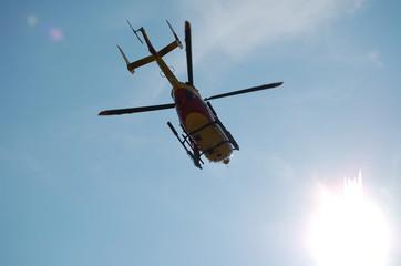helicoptere au decollage dans le soleil securite i