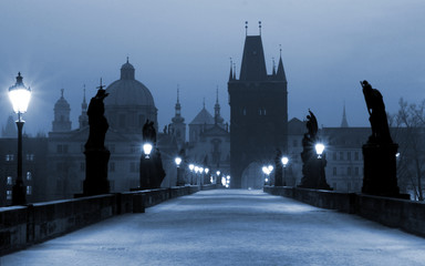Deurstickers Praag charles bridge, (blue) prague