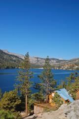 cabin on a mountain  lake