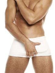 man in white underwear