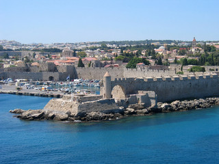rhodes, old town wall and harbour